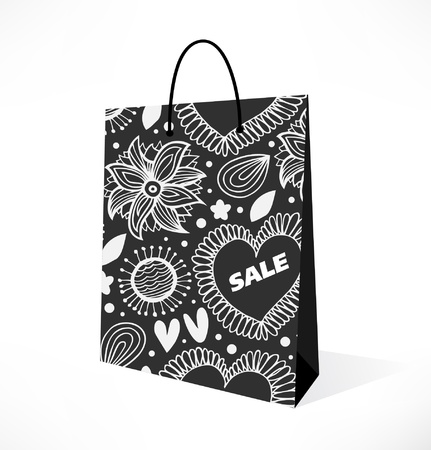 Isolated black and white pocket  Ornamental with flowers pattern paper-bag  Pack, package, parcel Vector
