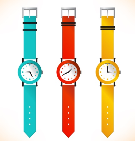 Isolated clocks  Wrist-watch  Set of clocks Vector