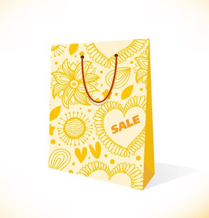 paperbag: Isolated on white pocket  Ornamental yellow paper-bag  Pack, package, parcel Illustration
