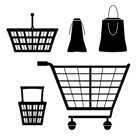 handcart: Isolated silhouettes collection with barrow truck, small cart, hand-cart, handcart, trolley  Set of shopping elements  Sale  Packages  Shopping baskets, carts contours  Handcarts