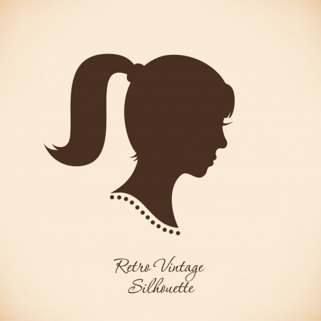 Retro woman head silhouette Isolated woman half face  Vintage image of girl portrait  Contour image of lady head Vector
