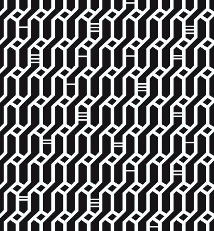 motif geometriques: Motif R�seau fond vannerie texture homog�ne g�om�trique noir et blanc d�coratif sans fin pour le design textile, le papier d'emballage, les emballages, les tuiles Illustration