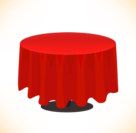 red table on white background  Table cloth Vector
