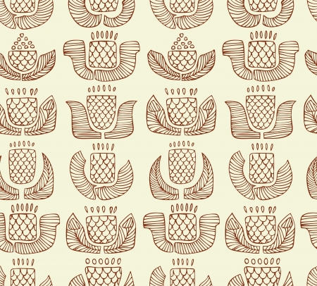 craftsperson: Contour ethnic pattern with different flowers, buds and leafs  Endless background with ornamental native elements  Hand drawn outline stylish texture for prints, covers, textile Illustration