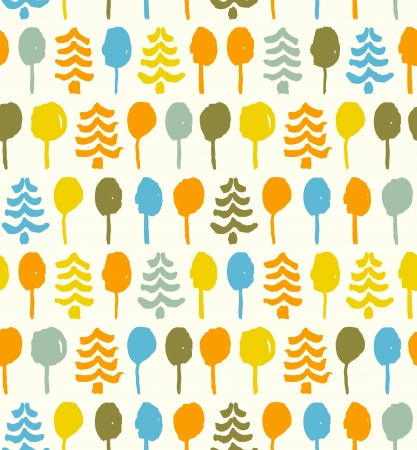 Decorative bright pattern with trees  Seamless doodle texture  Tapestry  Template for design prints, clothes, wallpapers, web page backgrounds Vector