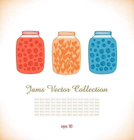 Jams drawn collection  Strawberry jam  Raspberry jam  Doodle set of different confiture  Isolated pots of jam  Love heart in jar Vector