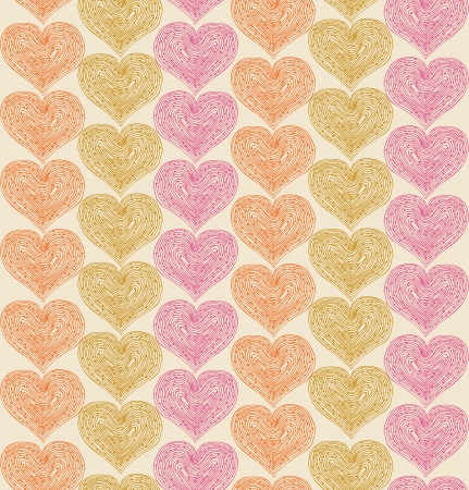 Lacy seamless pattern with hearts  Decorative background Vector