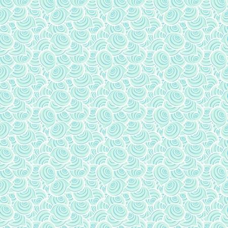 Light blue seamless pattern with spiral shells  Ocean background Vector