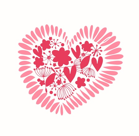 Ornate heart with many details  Cute design element for cards, crafts, prints, scrapbooks  Decorative love banner Stock Vector - 19791916