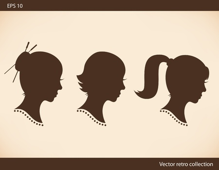 cartoon hairdresser: Retro collection with women head silhouettes  Vector set with Isolated women half faces  Vintage images of girls portraits  Contour images of ladies heads