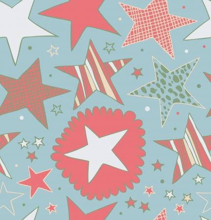 threadbare: Seamless pattern astratto con stelle Starry sfondo decorativo disegnato Doodle trama carina Vettoriali
