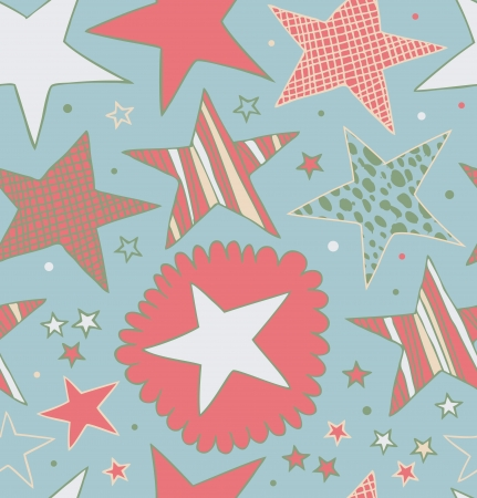 Seamless retro abstract pattern with stars  Starry decorative drawn background  Doodle cute texture Ilustração