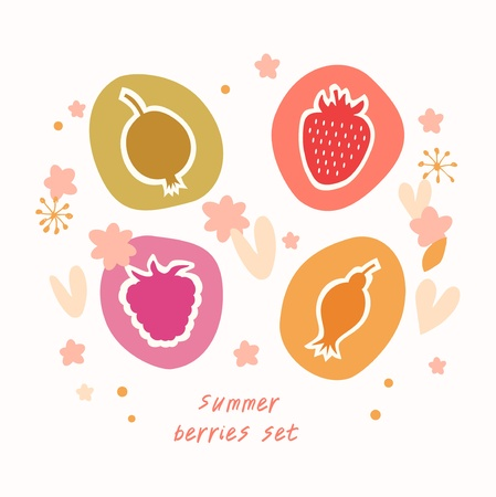 Summer berries set  Food icons doodle collection Vector