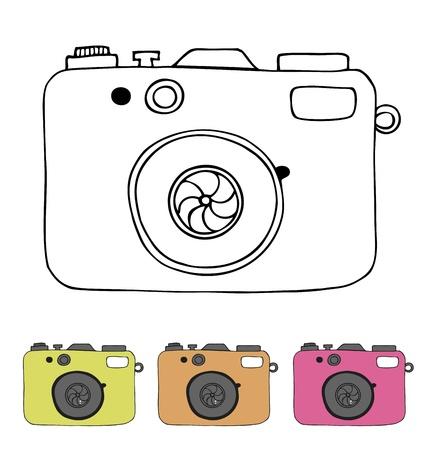 Vector illustratie van gedetailleerde geïsoleerde iconen van de camera in de Lineaire getrokken beeld retro stijl Stockfoto - 19791920