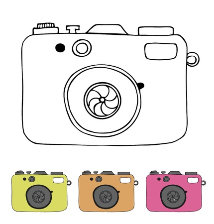 Vector illustration of detailed isolated icons of camera in retro style  Linear drawn image