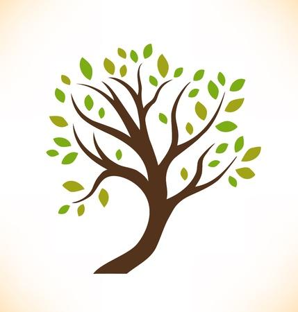 un arbre: Vecteur isol� arbre d�coratif stylis� plante Image de l'arbre couronne Illustration