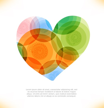 Vector multicolor heart  Love shiny banner  Beauty element for gifts, cards, invitations Vector