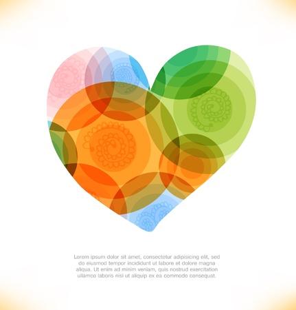 Vector multicolor heart  Love shiny banner  Beauty element for gifts, cards, invitations Ilustração