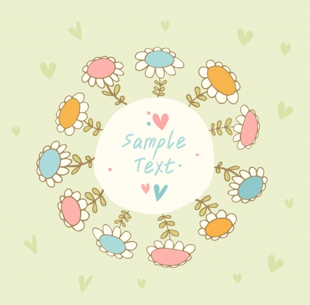 Bright seamless banner with  flowers and place for text  Cute doodle card can be used for arts, gifts, invitations Vector
