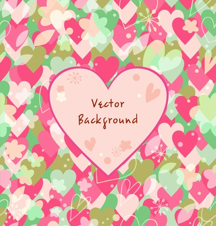 Background with hearts, flowers, leafs  Decorative multicolors card Stock Vector - 19792201