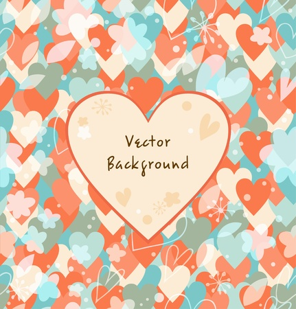 Background with hearts  Vintage multicolors banner Stock Vector - 19792199