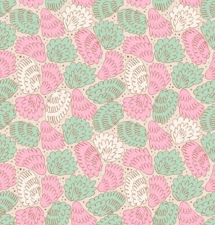 fuzz: Feathers seamless ornate pattern  Abstract background with plums  Decorative texture with fuzz  Fabric texture with wings
