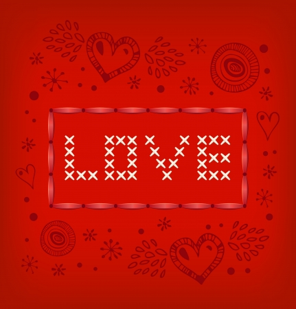 Love banner. Scandinavian style knitted pattern with hearts and snowflakes. Amour Vector