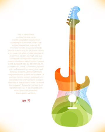 pulsation: Guitar multicolor silhouette Illustration