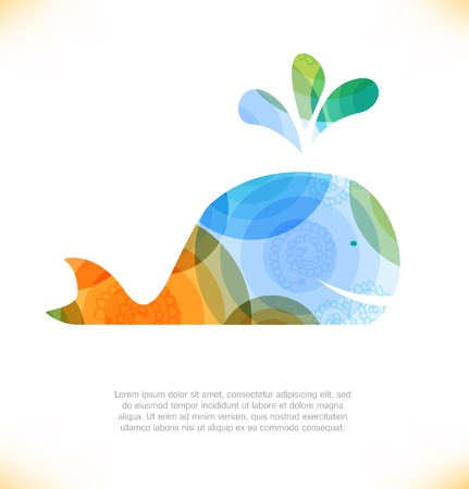 Isolated multicolor whale, blower Vector