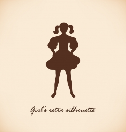 mode: Black isolated girl silhouette  Vintage illustration of young girl in retro style