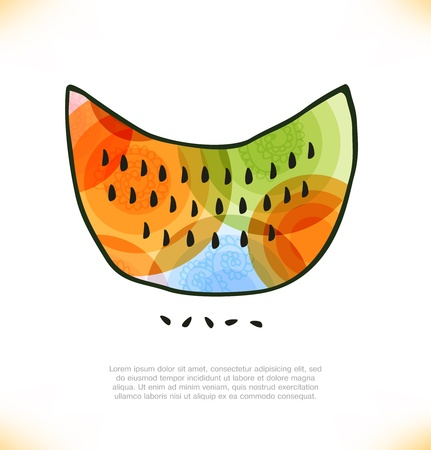 pulsation: multicolor watermelon  Melon  Beauty element for gifts, cards, invitations