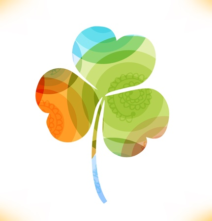 trefoil: multicolor clover, trefoil  Beauty floral element for gifts, cards, invitations