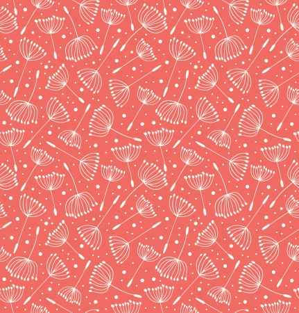 Floral decorative pattern. Seamless retro texture with flowers. Contour background with fluff Vector