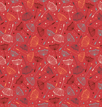 Red ornate endless pattern. Seamless decorative texture with flowers. Background with fluff Stock Vector - 20010505
