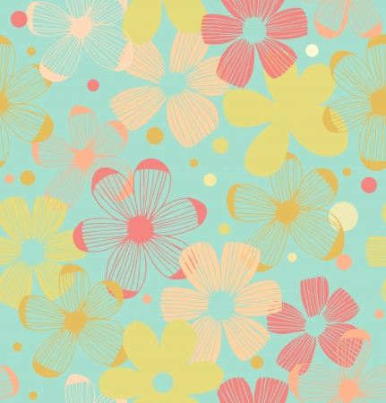 Floral cute pattern  Seamless background with decorative flowers Vector