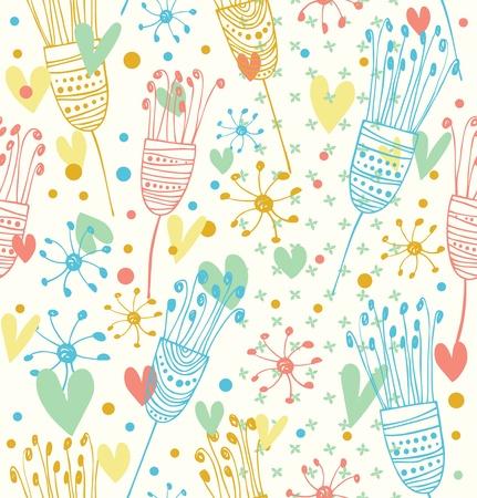 Naadloze licht bloemmotief Leuke achtergrond met bloemen Decoratieve doodle textuur voor prints, textiel, ambachten, wallpapers, bestrijkt