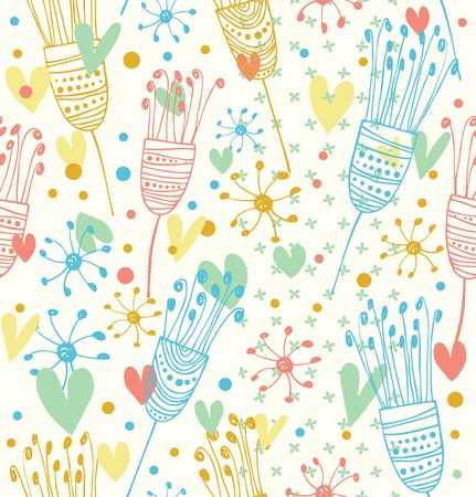 Seamless light floral pattern  Cute background with flowers  Decorative doodle texture for prints, textile, crafts, wallpapers, covers Vector