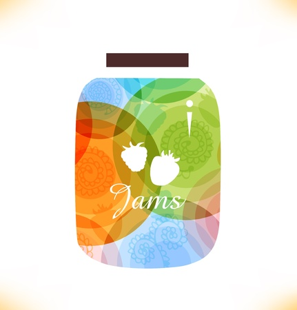 confiture: Vector multicolor jam jar  Confiture  Isolated pot of jam  Beauty element for gifts, cards, invitations