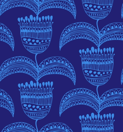 Blue beautiful seamless pattern  Oriental floral background  Decorative gorgeous template for wallpapers, textile, packages  Vector