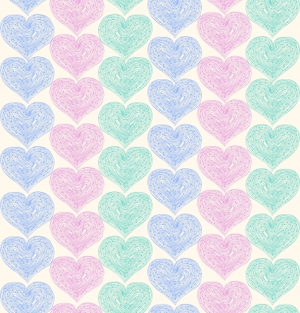 Linear ornate seamless pattern with lacy hearts  Decorative fabric texture  Vector