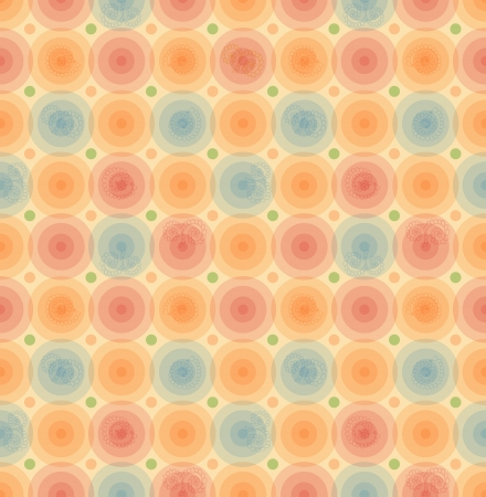 Vector retro background  Vintage seamless pattern with glossy circles  Geometric template for wallpapers, covers, packaging  Illustration