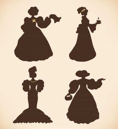 vogue style: Brown isolated women silhouettes  Vintage icons collection of retro women  Set of women in modern dresses  Daguerreotypes images  Pictogram  Illustration