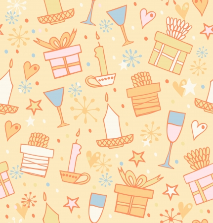 Doodle seamless pattern with gifts, candles, goblets  Endless decorative scribble background with boxes of presents  Decorative texture for wrapping papers, covers, wallpapers  Vector