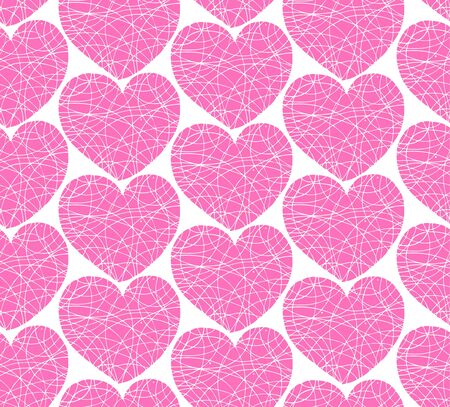 edit valentine:  Seamless pattern with mosaic hearts  Decorative scribble texture