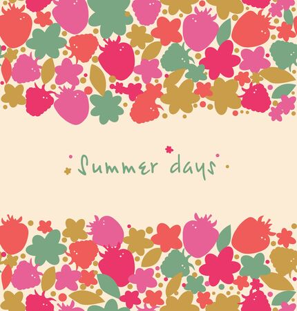 Summer floral background with berries, flowers, leafs Vector
