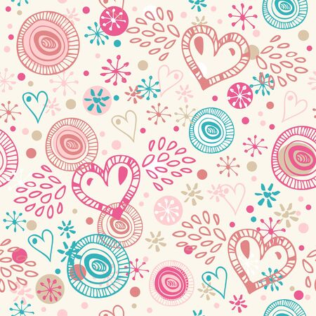 Abstract doodle seamless background with hearts Vector