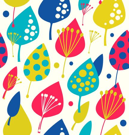 Colorful seamless pattern with decorative leafs Vector