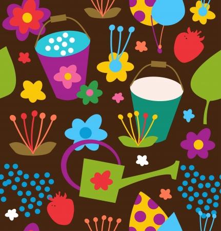 Doodle seamless garden pattern