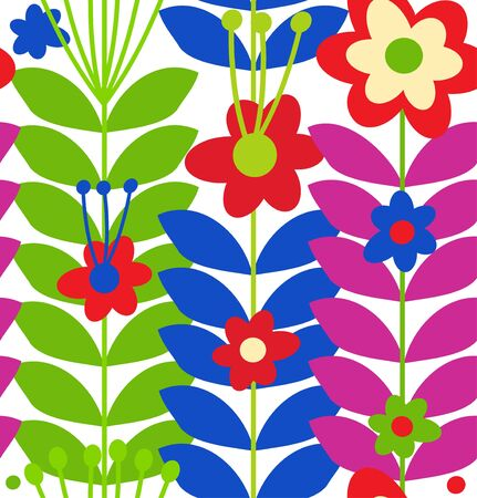 Floral stylish seamless pattern  Cute doodle flowers Vector