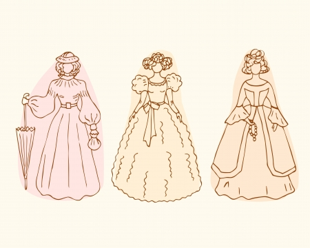 aristocrat:  Retro isolated women sketches  Vintage collection